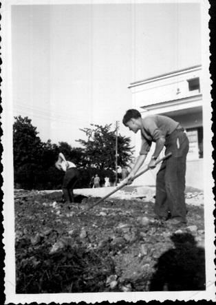 09 roland et claude accelerent pour preparer les pelouses septembre 1955